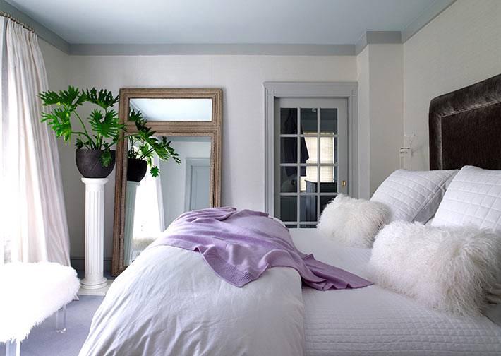 дизайн спальни белого цвета с черным изголовьем кровати и комнатным цветком