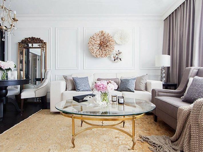 роскошный интерьер гостиной от дизайнера Инны Усубян