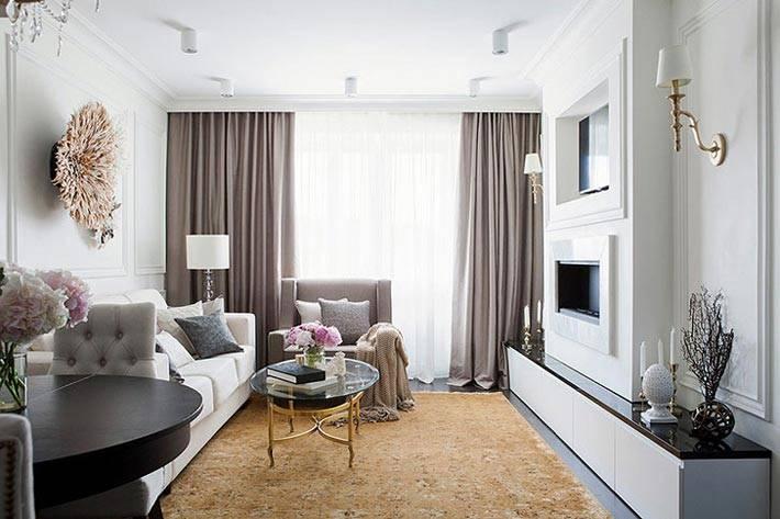 светлая гостиная с темными серыми шторами фото