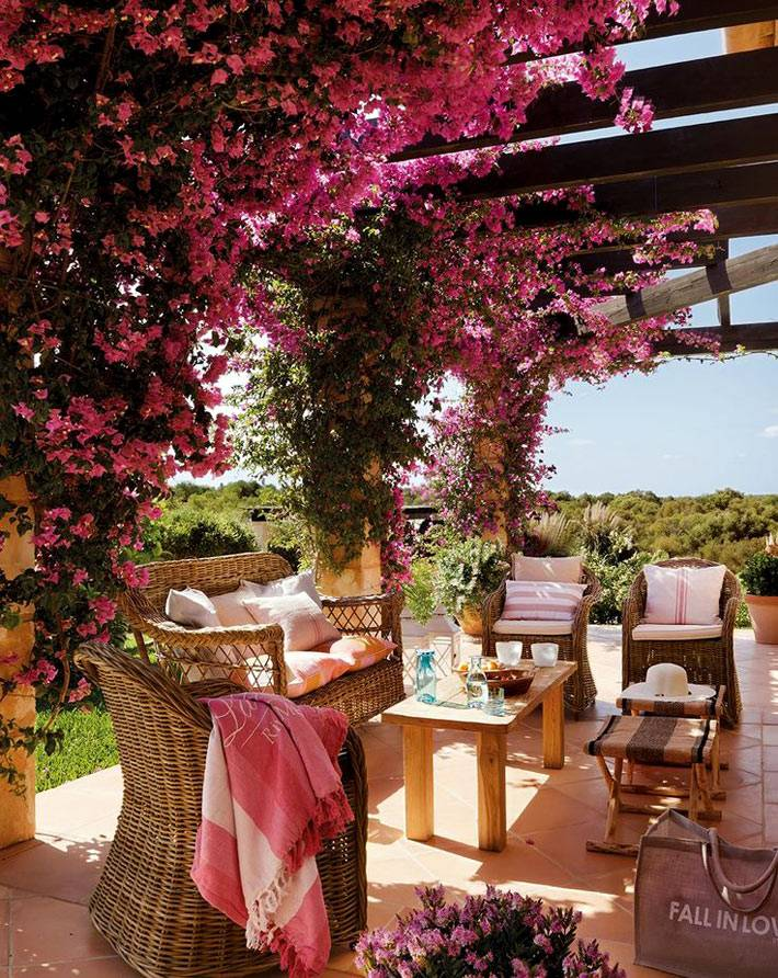 открытая веранда с плетеной мебелью и цветущей бугинвиллией