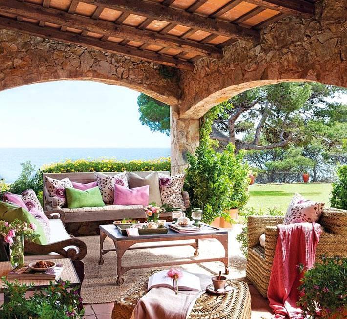 использование камня в дизайне веранды дома фото