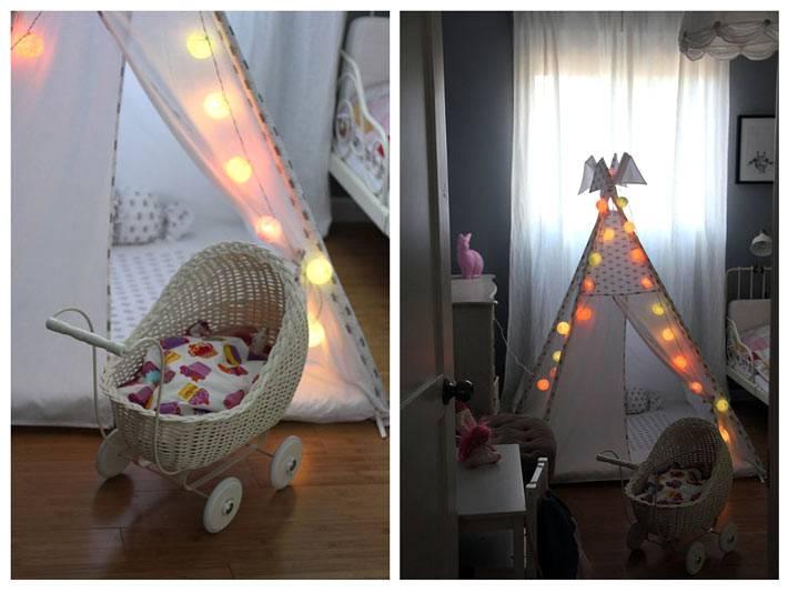 детский вигвам в интерьере детской комнаты фото