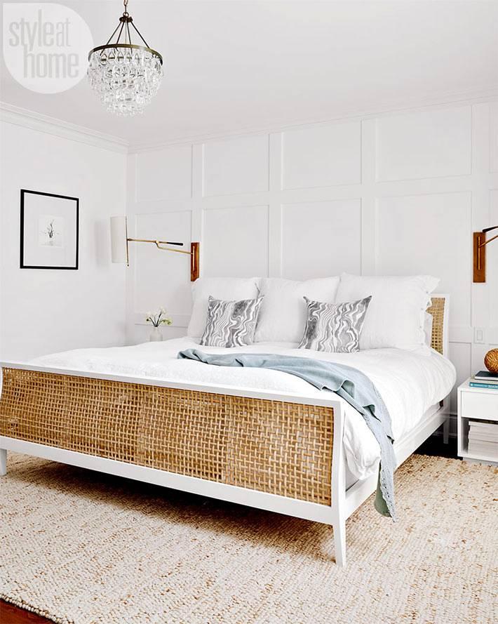 белый цвет в дизайне спальни с элементами эко-стиля