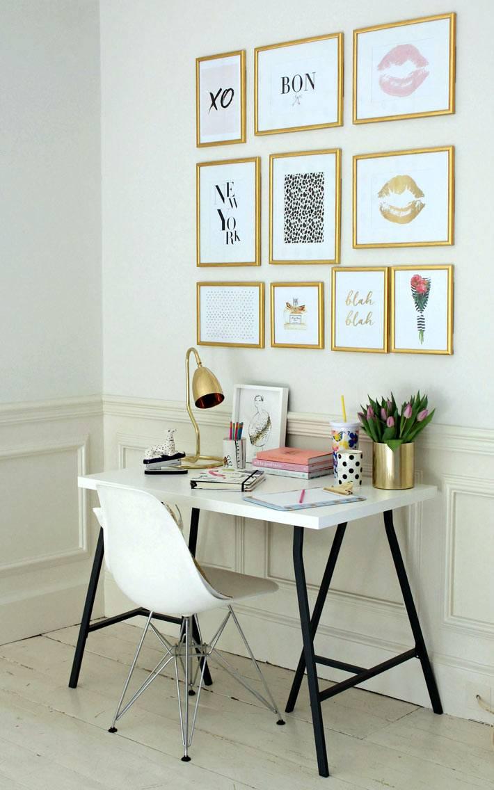 белая мебель в офисе и золотые аксессуары фото