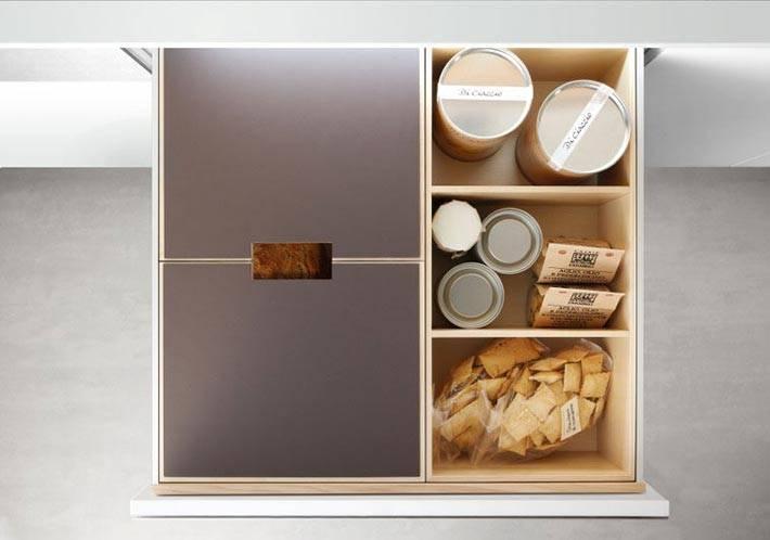 глубокий кухонный ящик для хранения банок и круп
