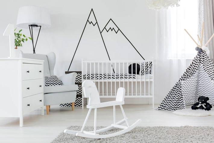 белая мебель и черный тескстиль для детской комнаты