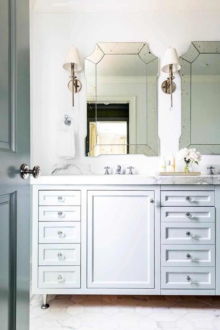 эффект старения на зеркалах в ванной комнате фото