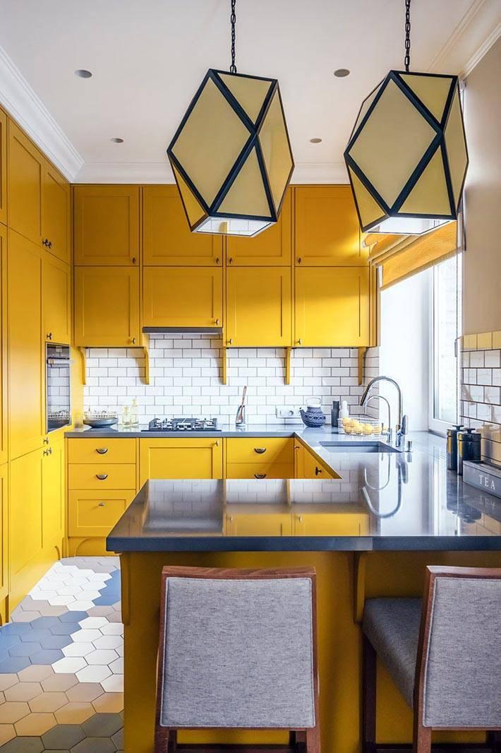 желтый цвет интерьера кухни в квартире фото