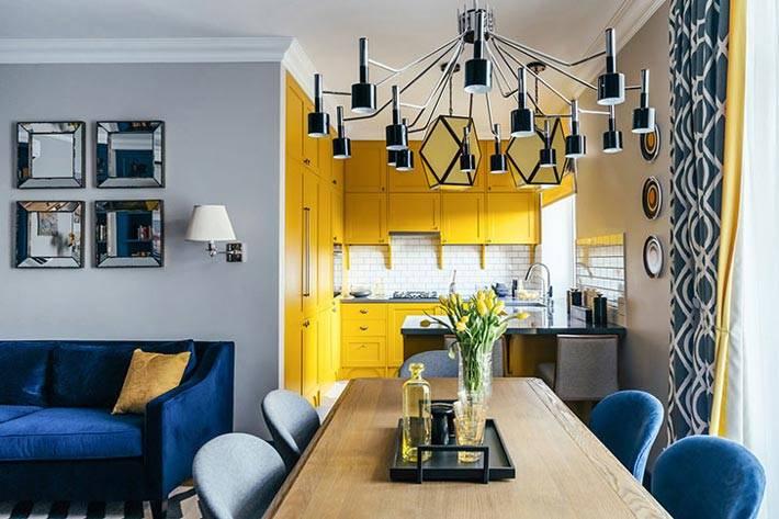 кухонный гарнитур желтого цвета фото