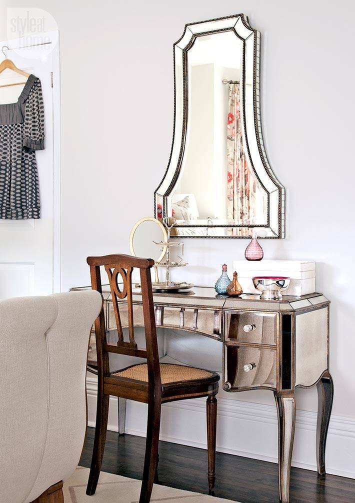 зеркальная мебель в женской спальне фото