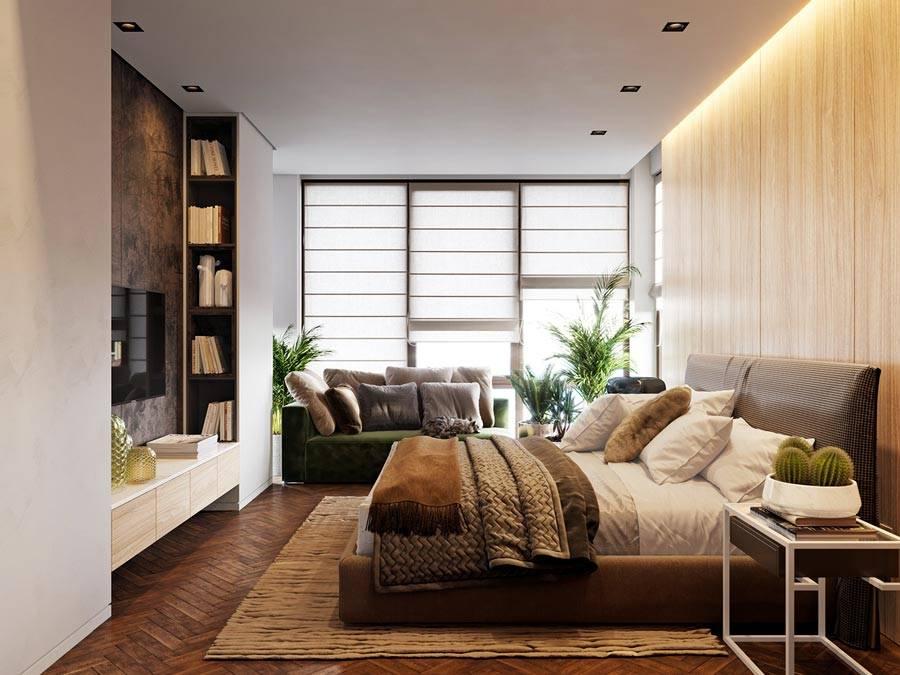 уютная современная спальня с большим окном