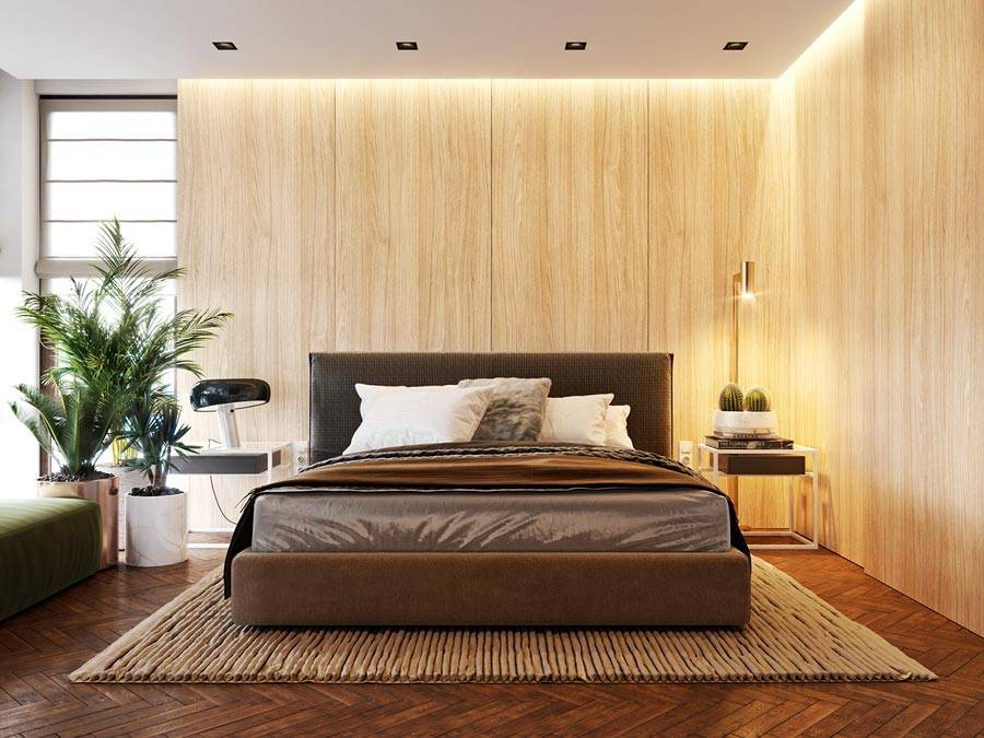 современные необычные прикроватные тумбочки в спальне