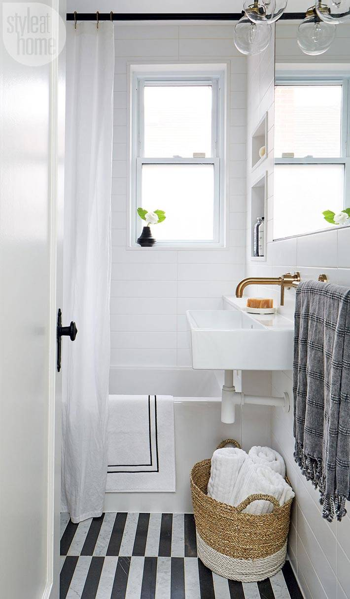 белый цвет в дизайне маленькой ванной