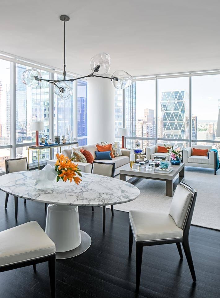 совмещенные гостиная и столовая зоны в квартире фото