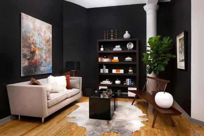 черные обои на стенах в гостиной комнате фото