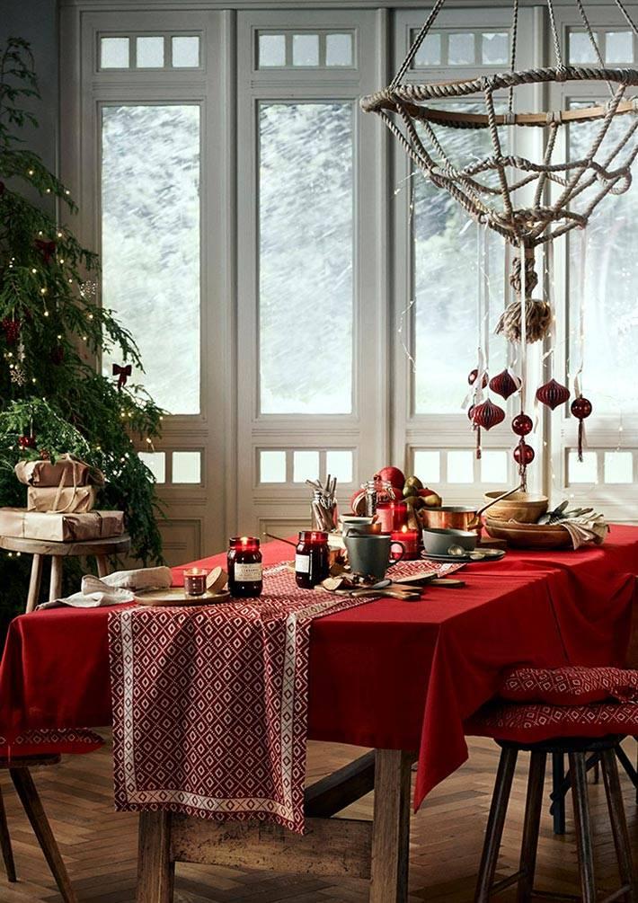 новогодний стол с красной скатертью и елкой
