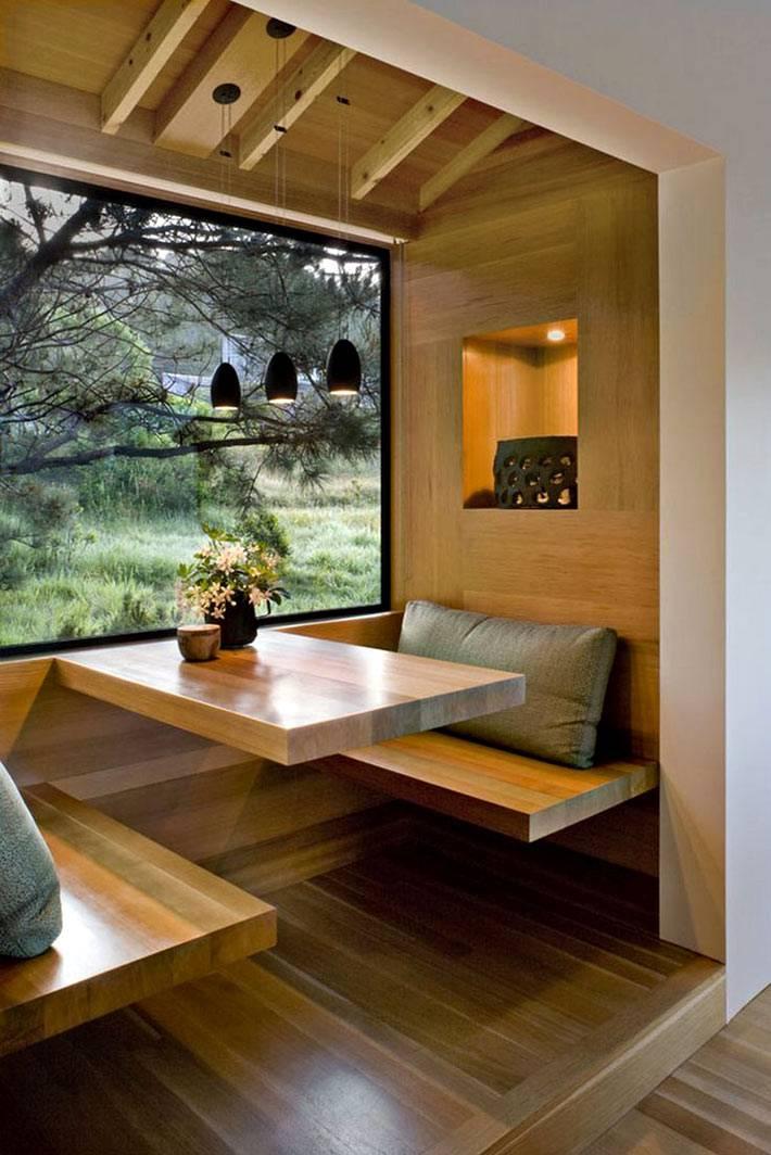 натуральное дерево для обеденной зоны на кухне фото