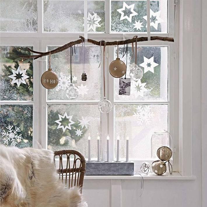 красивые новогодние рисунки на окнах мятным порошком