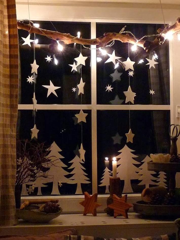 простые идеи из бумаги для украшение новогодних окон