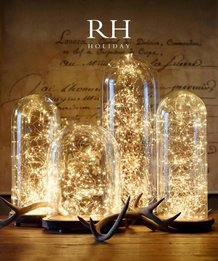новогодний декор - гирлянда под стеклянными колпаками