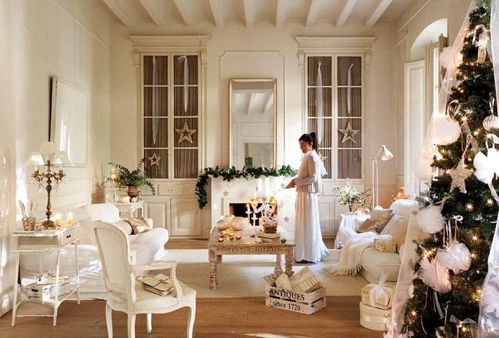 как сказочно оформить интерьер к новому году в белом цвете