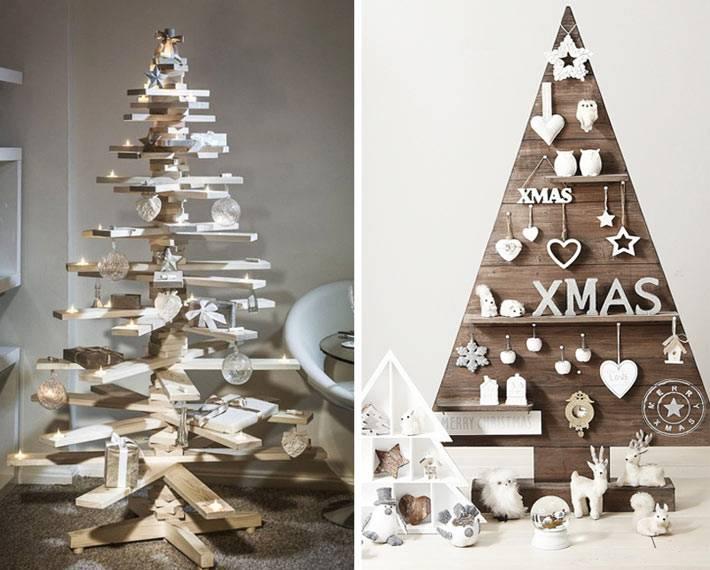 разные деревянные новогодние елки в доме фото