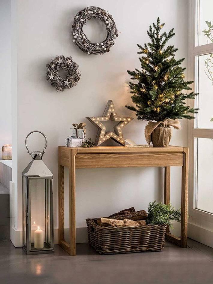 уголок самодельных новогодних деталей из дерева фото