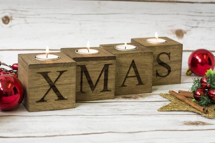 деревянный подсвечник XMAS в новогоднем декоре