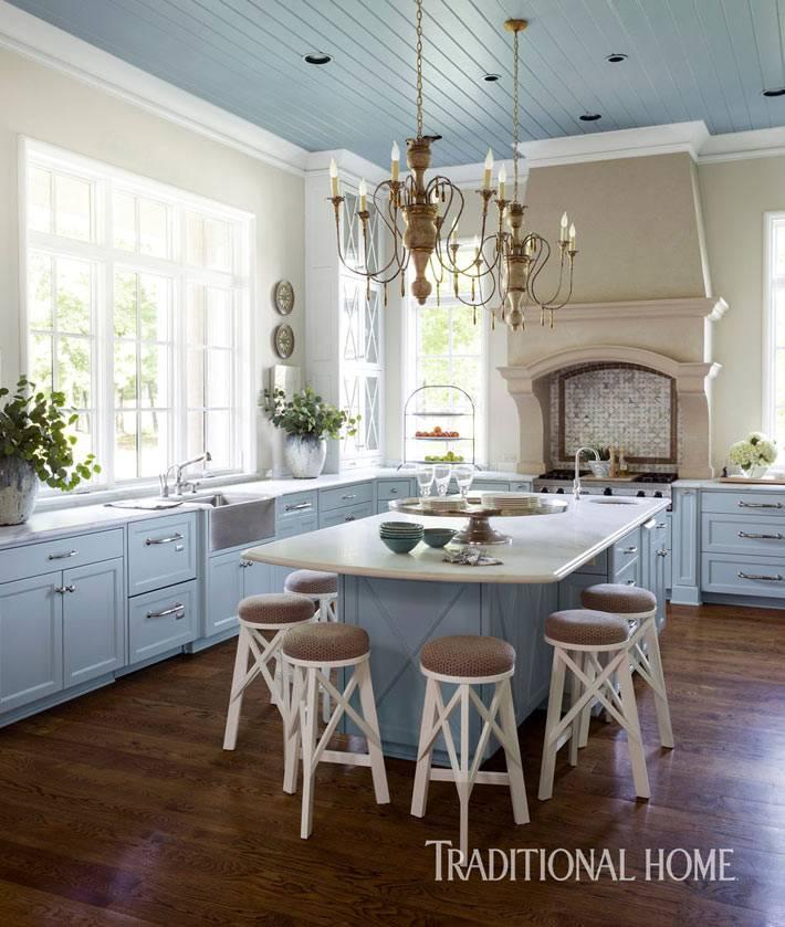 большая кухня с отдельным островом и барными стульями фото