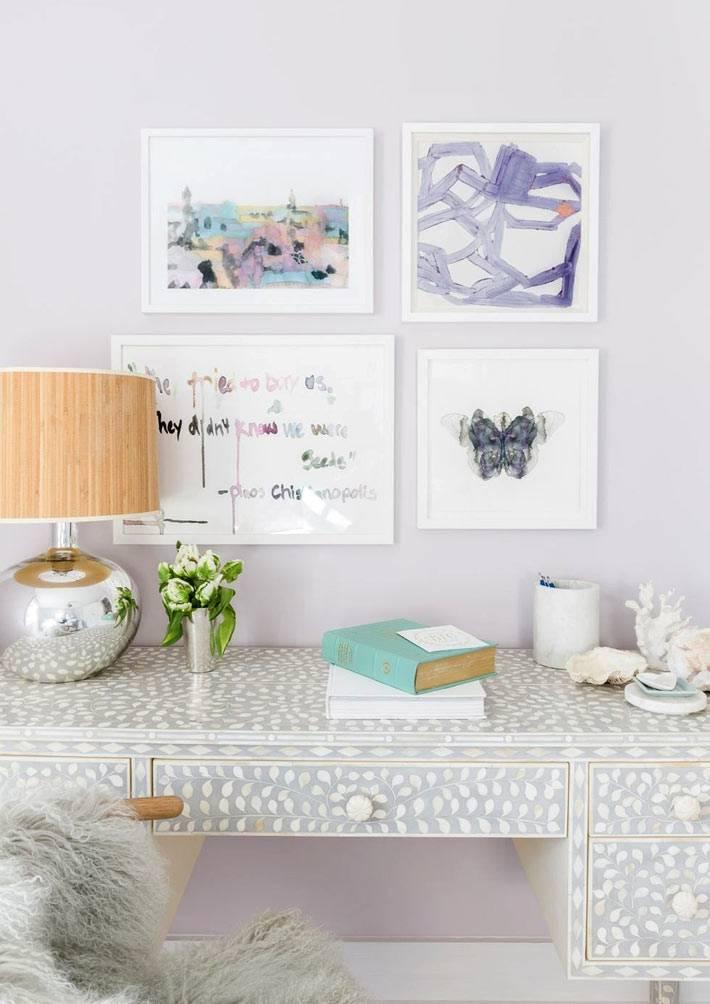 красивый рабочий стол для женщины с картинами