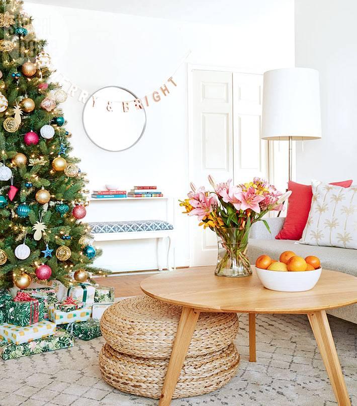новогоднее украшение дома в тропическом стиле фото