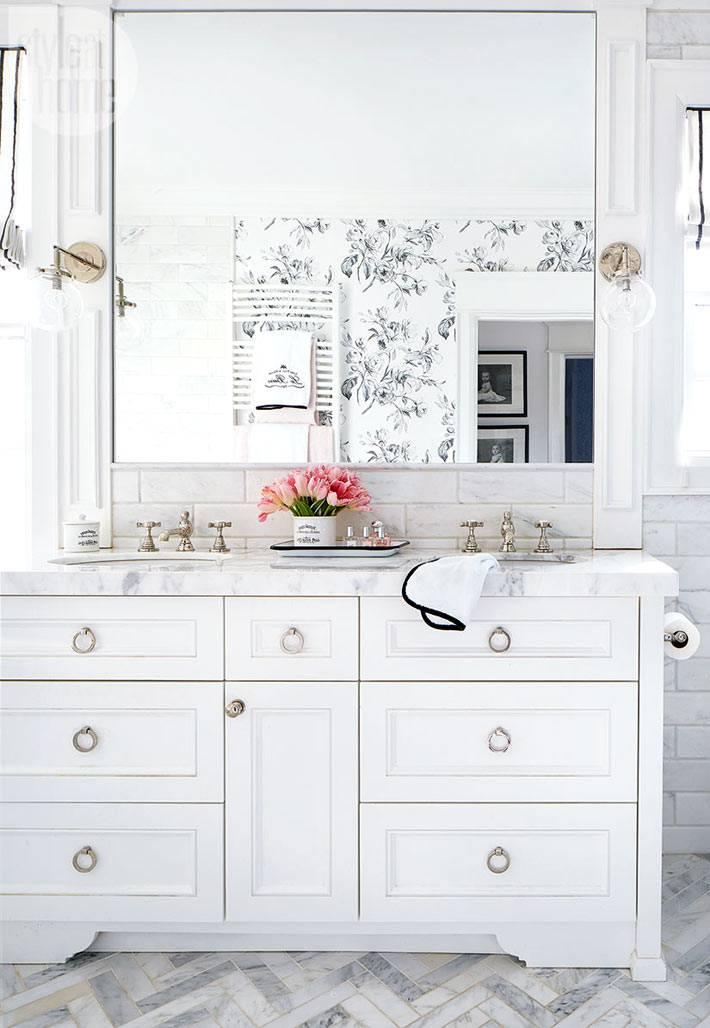 мраморная столешница для умывальников в ванной комнате фото