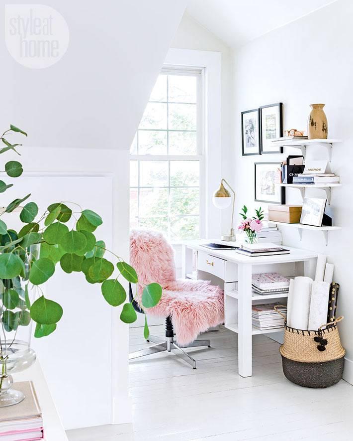 скандинавский стиль в оформлении рабочего стола дома