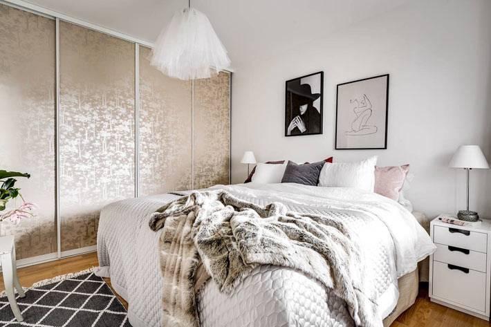 пастельные оттенки мебели в интереьре взрослой спальни
