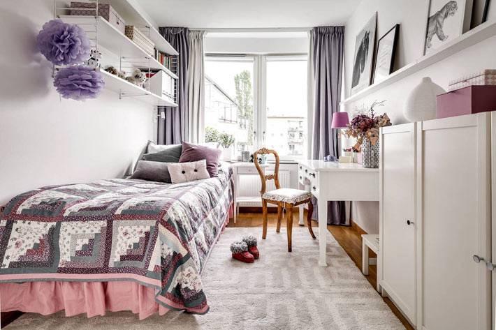 белый и сиреневый цвета в дизайне детской комнаты для девочки