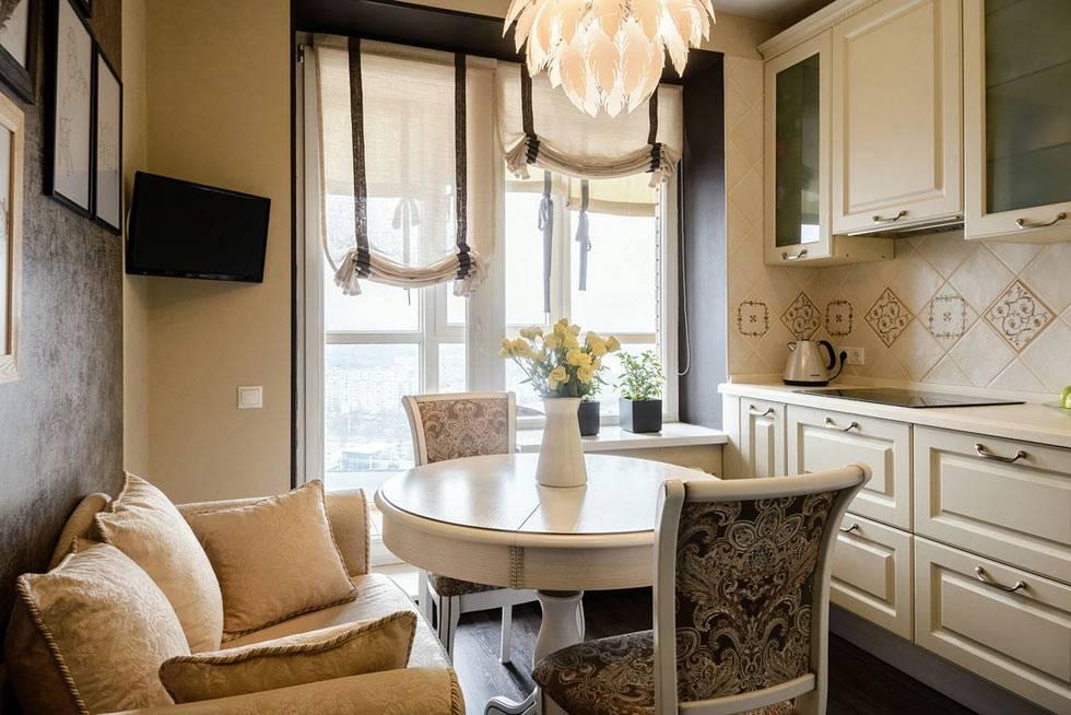 диван и телевизор в интерьере маленькой кухни фото
