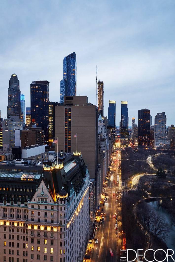 квартира с красивым видом на ночной город