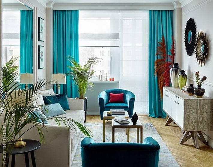 бирюзовый текстиль в дизайне квартиры фото