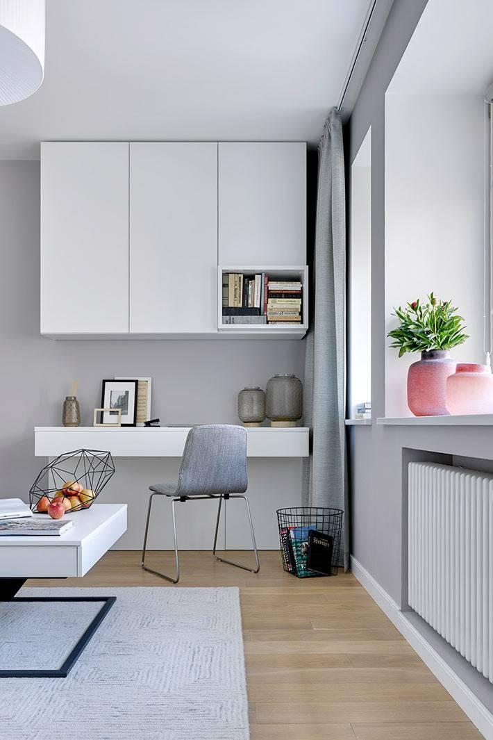 как разместить рабочее место в гостиной комнате