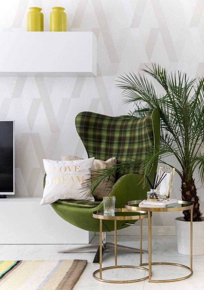 зеленая мебель в дизайне квартиры от Ивана Позднякова