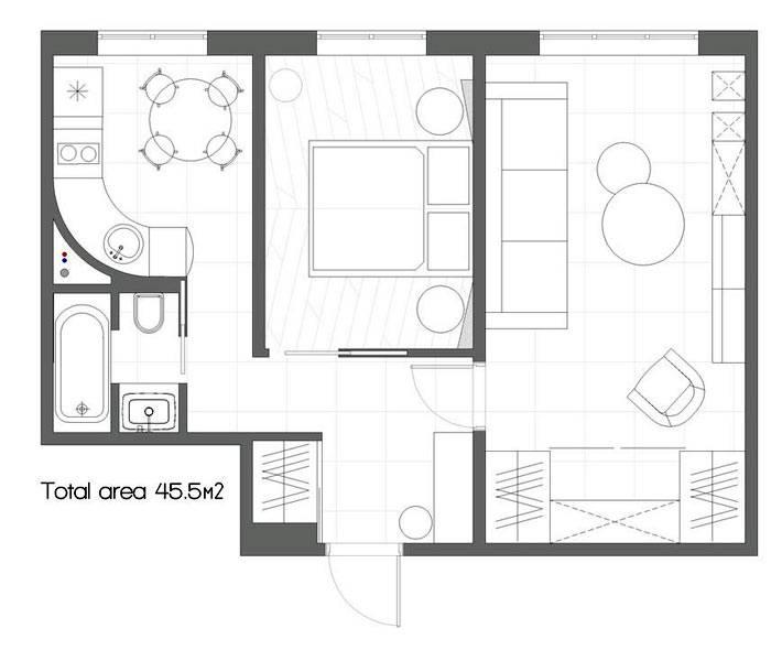 перепланировка стандартной двухкомнатной квартиры