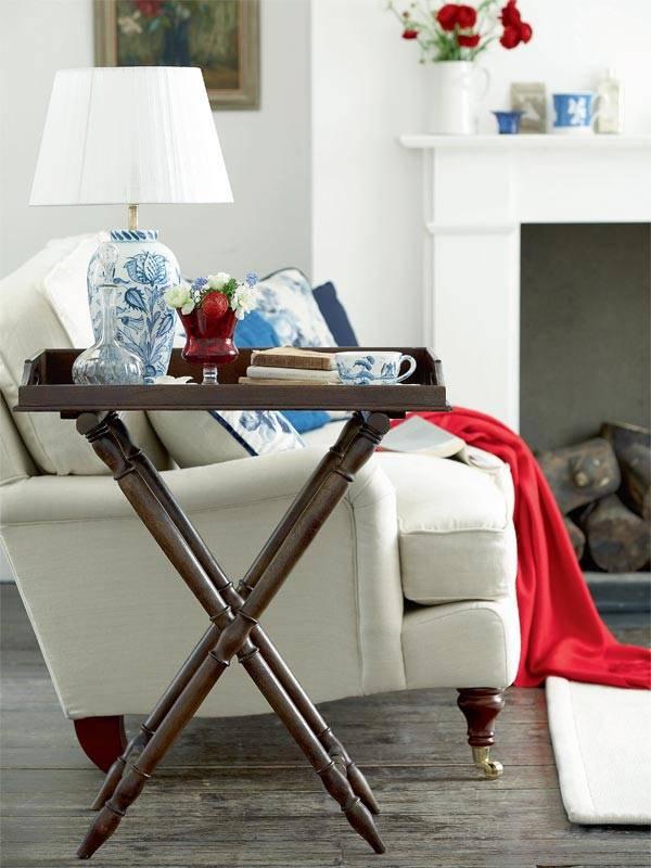 дизайн интерьера, красивые интерьеры, фото интерьеров, английские акценты, красный и синий цвет в интерьере