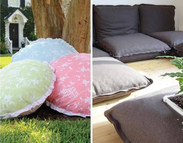 Круглые и квадратные подушки для пола с оборкой фото