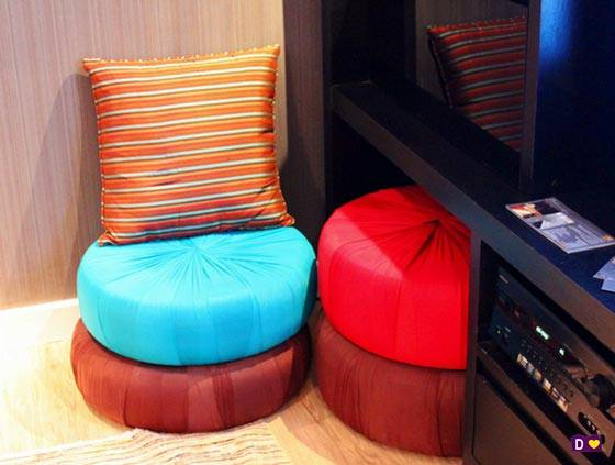 Круглые подушки для сидения на полу можно сделать своими руками фото