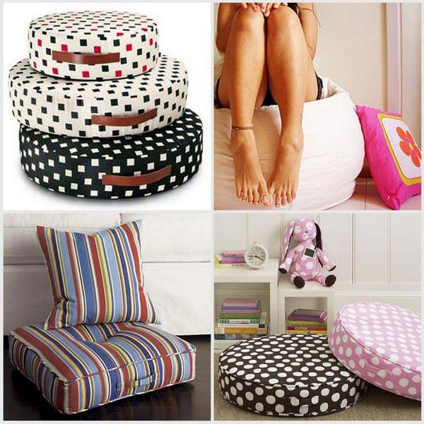 Большой выбор напольных подушек для интерьера фото