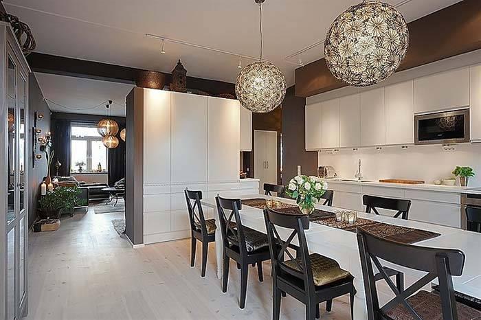 Красивый дизайн кухни со столовой зоной в квартире фото