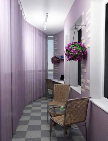 оформление закрытого балкона