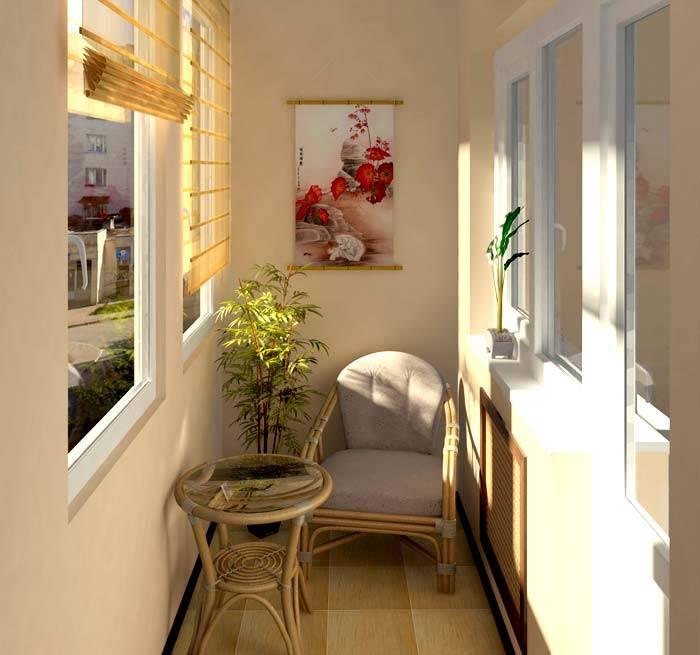 дизайн интерьера закрытых балконов