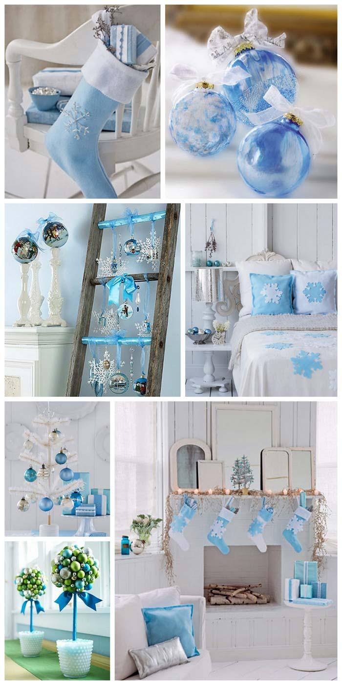 голубой цвет новогоднего декора