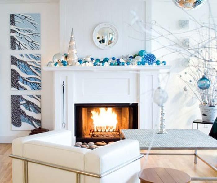 идеи новогоднего декора в голубом цвете